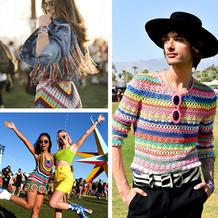 科切拉音乐节2018中用彩色毛线与镂空打造的各种酷帅造型