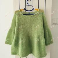 轻薄清新从上往下织绿色马海毛女士棒针毛衣