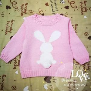 萌可爱小兔图案儿童棒针配色毛衣