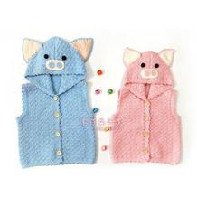 男女宝宝都适合的萌猪宝宝背心钩针儿童马甲编织图解