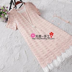 粉贝 旗袍裙改版女士钩针蕾丝短袖连衣裙