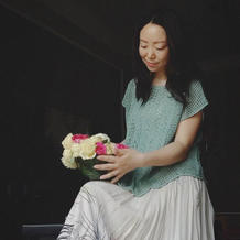 春事阑珊 美人如画春末夏初棉麻女士钩织结合罩衫