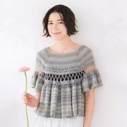 2018春夏编织布鲁日花边钩织结合女士斗篷式罩衫
