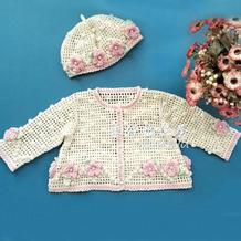 暖光 宝宝钩针立体花小开衫及帽子