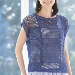 清凉夏款女士钩针蕾丝方格编短袖衫