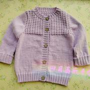 紫微 简单实用女宝宝圆领棒针小开衫