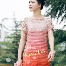 花漾 蛋糕线女士钩针短袖连衣裙