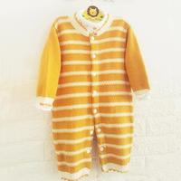 婴幼儿配色哈衣  宝宝棒针长袖开裆连体衣织法详解
