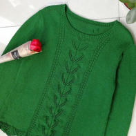 绿萝 女士棒针叶子花金丝羊毛套头毛衣