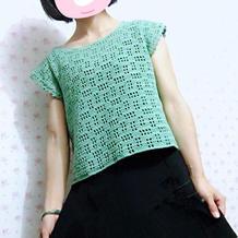 3天即可完工新手也适合编织的女士钩针网格罩衫