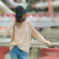 粉樱 女士镂空领春夏棒针宽松长袖衫