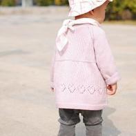 由上往下织宝宝棒针裙式小开衫