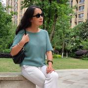 碧色 夏日女士棒针系带套头短袖丝绒衫