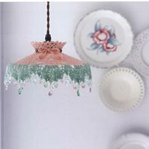 珠饰钩花田园风钩针灯罩编织图解