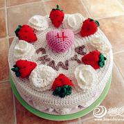 只能看不能吃的草莓奶油蛋糕 毛线钩编蛋糕制作教程