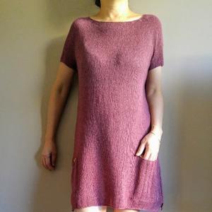 优雅知性从上往下织圆肩短袖连衣裙
