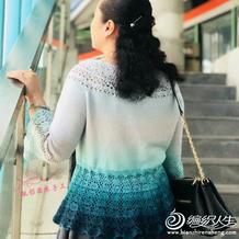 不用穿打底的蛋糕球钩织结合女士春秋衫