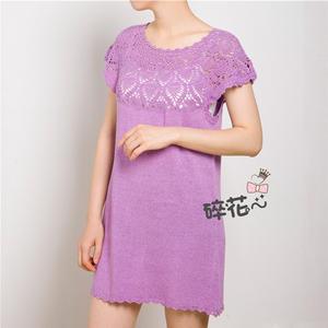 风铃草 女士钩织结合菠萝花圆肩连衣裙