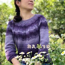 暗香 段染线编织志田款女士棒针圆肩毛衣