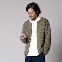 简单好织男士棒针直袖款夹克式拉链开衫毛衣