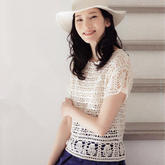 清爽夏日女士钩针蕾丝短袖套衫