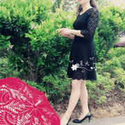 鸟羽小黑裙 七分袖女士钩针连衣裙