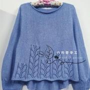 素什锦 轻盈显腰镂空燕尾结构女士棒针套头毛衣