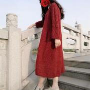 背后的风铃花 休闲宽松女士棒针长袍裙