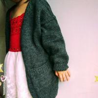 灰凝 韩版儿童棒针中长款毛衣外套