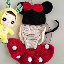创意编织宝宝百日照钩针米奇套装