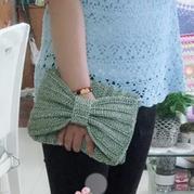 空心纱钩针编织手拿单肩两用蝴蝶结包包