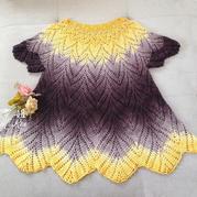 长段染钩针编织显瘦女士中长款套衫
