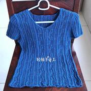 蓝姗 女士棒针棉麻V领短袖套衫