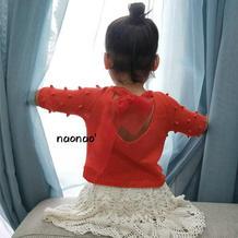 闹闹的小美好 甜美小性感蝴蝶结绑纱儿童棒针心形后领七分袖毛衣