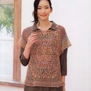 从中心钩起的女士钩织结合夏季罩衫