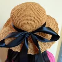 1厘米丝带线编织亲子钩针遮阳帽(附编织心得)