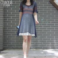 极简风女士钩针渔网针短袖拼色连衣裙