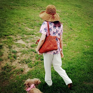 森女沙滩派女士钩针大檐帽