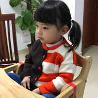 嗨-多彩 简单大方儿童棒针条纹拼色开衫