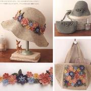 花团锦簇各年龄都适合的春夏麻线女士钩针帽子包包编织图解