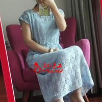 素简 简洁素雅显瘦显腿长的女士钩针长裙