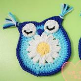 一步步教你钩萌萌钩针猫头鹰图案 可以做杯垫也可以做服饰装饰