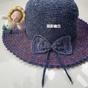 帽美如蝶 空心线钩针蝴蝶结遮阳帽编织说明