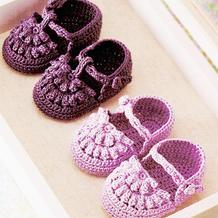 爆米花针可爱实用钩针花朵宝宝鞋编织图解