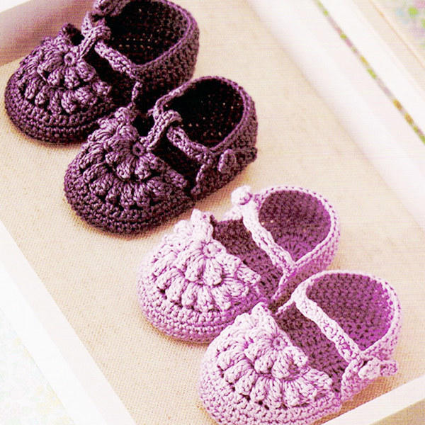 爆米花針可愛實用鉤針花朵寶寶鞋編織圖解