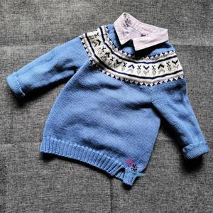 蓝精灵 儿童棒针圆肩提花毛衣