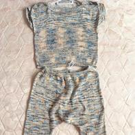 家用编织机机织段染真丝棉宝宝毛衣裤子套装