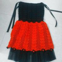 哥特风缎带儿童红黑钩针公主裙