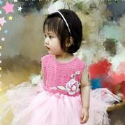 花儿网纱裙  儿童钩纱结合背心式蓬蓬裙