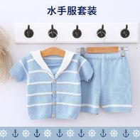 儿童棒针水手服毛衣裤子套装编织视频(3-1)宝宝翻领毛衣织法